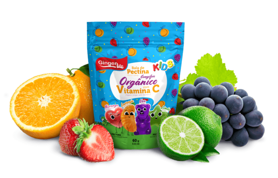 KIDS PECTIN CANDIES (4 FLAVORS)  WITH ORGANIC <br>GINGER AND VITAMIN